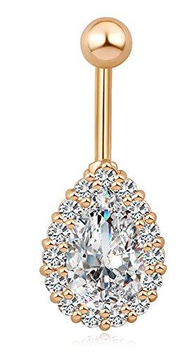 Qtalkie CZ Teardrop Crystal Ring Body Piercing Jewelry Steel Body Dangle Ball Barbell Bar Belly Bellow Button Navel Ring,Gold (Gold Teardrop Ring)