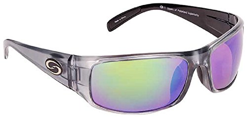 Strike King Optics Polarized SG Okeechobee Sunglasses, Clear Gray Frame/White/Blue Mirror Amber Base - Base B Sunglasses
