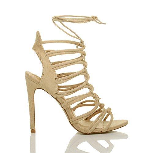 Damen Hoch Absatz Reimchen Ausgeschnitten Schnür-Pumps Sandalen Schuhe Größe 4 37 LBUjG9Tzem