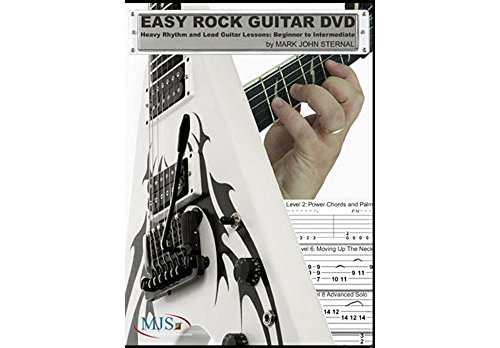 MJS Music Publications Easy Rock Guitar DVD: Heavy Rhythm and Lead Guitar Lessons: Beginner to Intermediate (Standard) (Intermediate Guitar Rock Rhythm Dvd)
