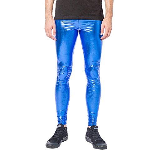 Kapow Meggings Men's Metallic Range Leggings - Holographic, Wet Look & Glitter (Cobalt Shock Blue, Medium) ()