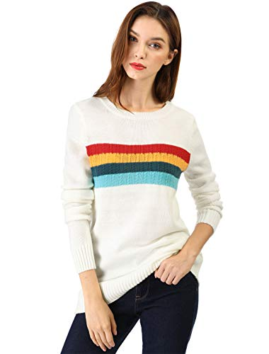 (Allegra K Women's Rainbow Striped Crewneck Cable Knit Pullover Tunic Sweater Jumper White XL (US)