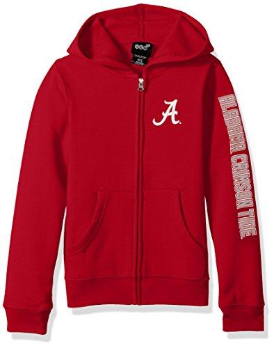 Outerstuff NCAA Alabama Crimson Tide Campus Pride Full Zip Fleece Hoodie, Dark Red, Small (7-8) (Ncaa Alabama Fleece Hoodie)