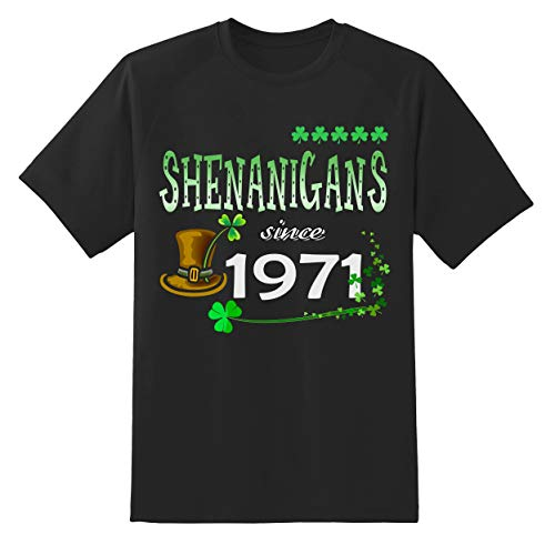 St Patricks Day Shirt - Shenanigans Since 1971 Unisex Shamrock Funny Irish St Patricks Day T Shirt Gifts Ideas Black ()