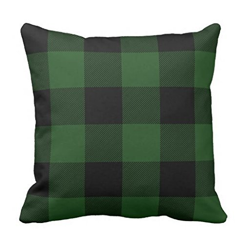 Rustic Green and Black Buffalo Check Plaid pillow case 26x26inch Review