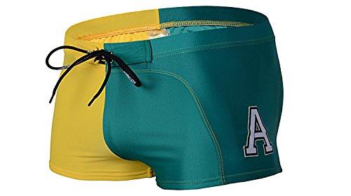 ZQ@QXAB creative American Mens Beach Spa men's maillot de bain Maillot de bain Maillot 1 pièce Maillot mode Métrosexuel,Taille M,jaune vert