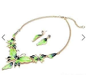 Gold Plated Oil Drop Butterfly Crystal Necklace Earrings Jewelry Set by Mochimoru