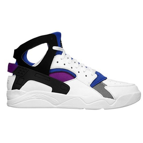 Nike Air Flight Huarache PRM QS Men's Shoes White/Black-Lyon Blue-Bold Berry 686203-100 (8 D(M) US) (Nike Flight Qs)