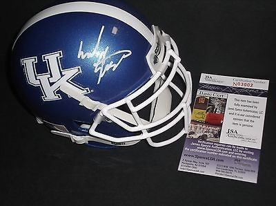 Mark Stoops Kentucky Wildcats Autographed Signed Mini Blue Helmet JSA COA 1