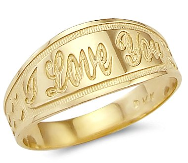 Size- 5 - New Solid Ladies 14k Yellow Gold I Love You Heart Ring (14k Solid Gold Heart Ring)