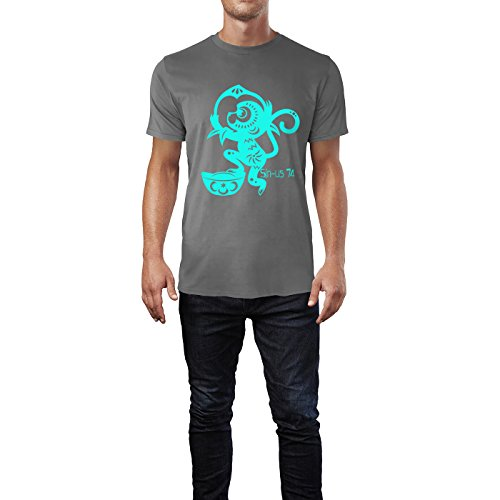 SINUS ART® Roter Scherenschnitt mit Affen Herren T-Shirts in Grau Charocoal Fun Shirt mit tollen Aufdruck