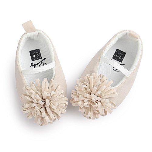 Estamico bebé niñas 'soft única prewalker zapatos infantil de princesa señaló Toe zapatos de Mary Jane para Cuna beige beige Talla:6-12 meses Beige