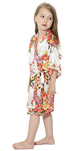b1962a6a361 JOYTTON Girl s Satin Floral Kimono Bathrobe Flower Girl Robe (4 ...