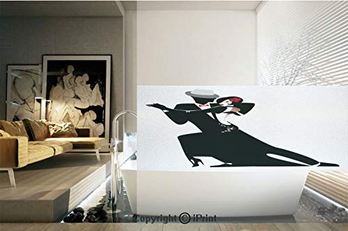 (Decorative Privacy Window Film/Man and Woman Partners Romantic Dance Tango Waltz Lovers in Rhythmic Music Art Print/No-Glue Self Static Cling for Home Bedroom Bathroom Kitchen Office Decor Black White)