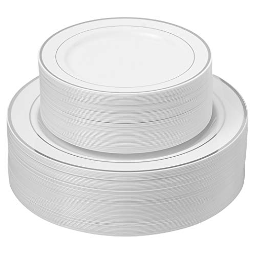100 Silver Rimmed Plastic Plates | Disposable White Heavy Duty Plates | 50 Dinner, 50 Dessert/Appetizer Plates…