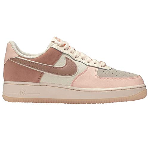 Nike Womens Air Force 1 07 Premium Leather Textile Washed Coral Rose Gold Trainers 8.5 US (In Women Air Force One)