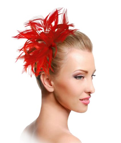 The Red Hat Society by Luke Song Bridal Feathered Fascinator ARM39 Red by Red Hat Society by Luke song