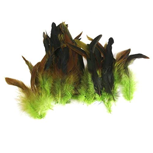Maslin Sale 850pcs / lot Cheap Pheasant Feather, 4-7inch 10-18cm, Black Color Rooster Feathers DIY Chicken Feather Jewelry Plume - (Color: Apple Green) ()