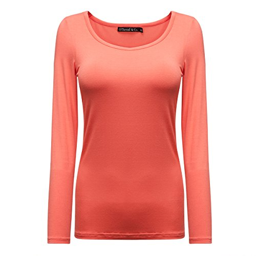 (OThread & Co. Women's Long Sleeves T-Shirt Scoop Neck Plain Basic Spandex Tee (Medium, Coral))
