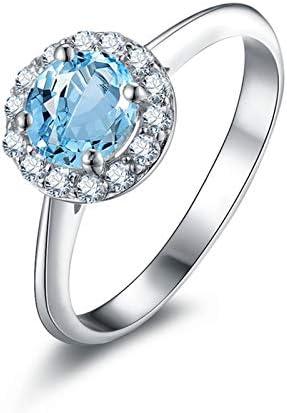 Anyeda Ehering für Mädchen Frauen Bandring 925 Sterling Silber Ringe Damen Runder Blauer Topas Mit 4 Klauen Zirkonen Umgeben