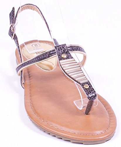 Victoria K Women Camel Open Toes Closed Back Flat Thong Sandals, 7