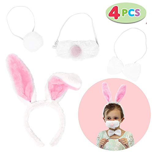 JOYIN Easter Bunny Headband Set Includes Bunny Ears, Nose, Bowtie, and Tail for Easter Party Decoration, Egg Hunt Activities,and Easter Gift (One Size Fit All)