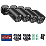 ANNKE (4 Packed) Outdoor Security Camera kits HD-TVI 720P Weatherproof Bullet Cameras, 66ft Night Vision.