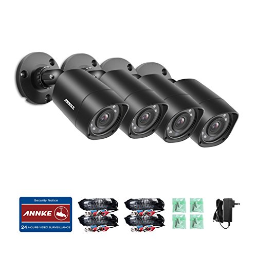 ANNKE 4-Packed 720P HD-TVI Security Camera 1280TVL 1.0MP Hi-Resolution Indoor/Outdoor Bullet Camera with 66ft Super Night Vision, Weatherproof Housing