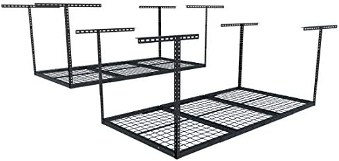 FLEXIMOUNTS 2 pcs 3×6 Heavy Duty Overhead Garage Adjustable Ceiling Storage Rack, 72 Length x 36 Width x 40 Height 2-Rack-Package Black