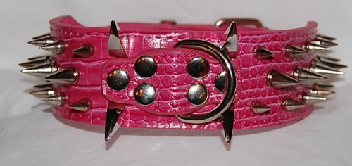 "17""-20.5"" Pink Faux Croc Leather Spiked Dog Collar 2"" Wide, 40 Large Spikes"