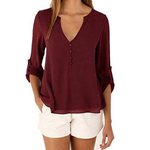 DRESHOW Women's Normal us Size Chiffon Blouse 3/4 Sleeve Loose Button Down Shirt Size XXL Burgundy (Cotton Gathered Blouse)