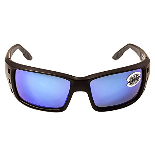 Costa Permit Polarized Sunglasses - Costa 580 Glass Lens Matte Black/Blue Mirror, One Size - - Permit Costa 580g
