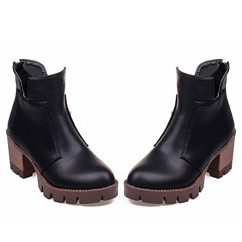 Balamasa Dames Rits Aan De Achterkant Platform Dikke Hielen Geïmiteerd Leren Laarzen Zwart