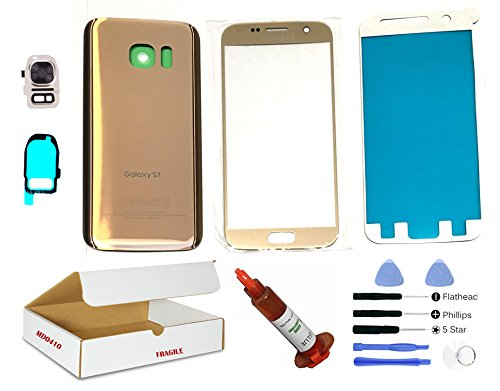 (md0410) Gold front outer glass lens + back cover + camera lens flash cover replacement Compatible Galaxy S7 G930 + adhesive + opening tool + (LCD screen & touch digitizer not included) (Galaxy S3 Screen Replacement Blue)