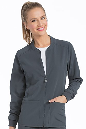 Med Couture Women's 'Air Collection' Zip Front Air Touch Warm Up Scrub Jacket, Pewter/Aruba Blue, X-Large -