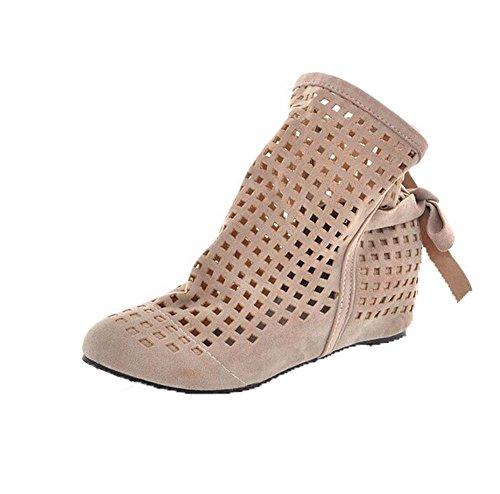 Frühling Herbst Kurze Stiefel Damen Schuhe Erhöhte sich innerhalb Beige