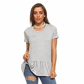 Isaac Liev Women's Short Sleeve Ruffle Hem Tunic Top (Small, Heather Grey)