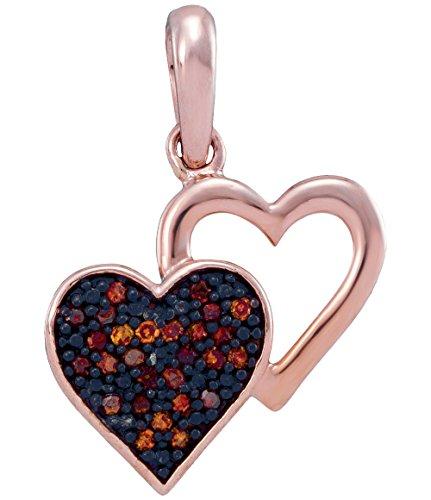 Brandy Diamond Dark Chocolate Brown 10k Rose Gold Double Heart Necklace Pendant 1/12 Ctw.