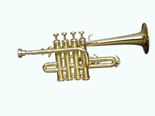 Global Art World Top Quality Picollo BB Pitch Piccolo Trumpet Brass Finish With Mouth Piece MI 038 by Global Art World