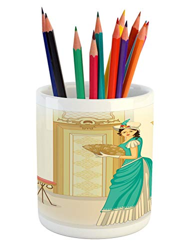 Ambesonne Renaissance Pencil Pen Holder, Vintage Style Victo
