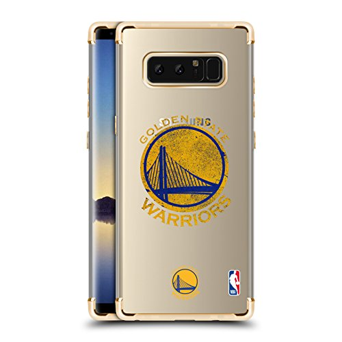 Official NBA Distressed Golden State Warriors 2 Gold Shockproof Fender Case for Samsung Galaxy Note8/Note 8 (Case Cell Phone State)