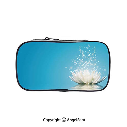 Pen Case Office College School Large Storage,Mystic with Dreamlike Fairy Effects Peace Unusual Relaxing Zen Image Decorative Petrol Blue Coconut 5.1inches,Box Organizer New Arrival