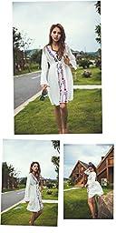 Jeasona (TM) Women's Long Sleeve Embroidered Beach Dress Swimsuit Cover Up