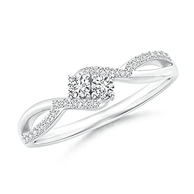 Angara Two Stone Diamond Split Shank Ring with Prong Setting 3vZIIhb7GW
