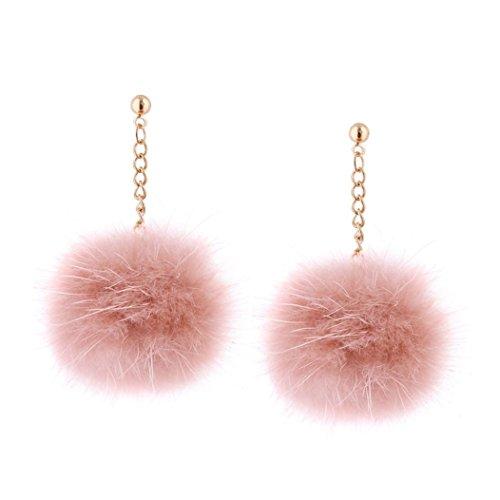 1 Pair Earring ,kaifongfu Fashion Women Earrings Pom Pom Ball Dangle Drop Stud Earring Jewelry Gift Stud Earring for Valentine's Day (Pink)