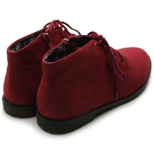 Ollio Women's Flat Shoe Classic Lace Up Zip Faux Suede Oxford