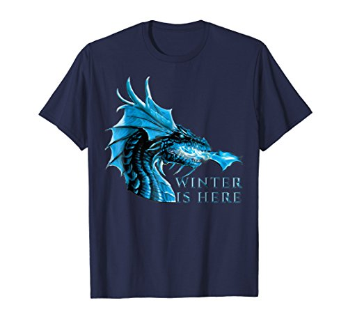 Mens Winter is Here Blue Ice Flames Crystal Eyes Dragon T-Shirt Large Navy