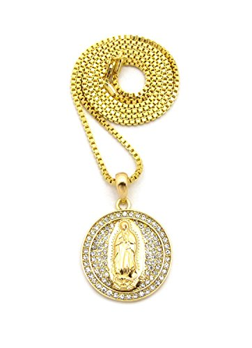 Mini Size Iced Out Saint Virgin Mary Round Pendant 24