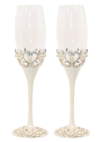 Pearl Wedding Champagne Toasting Flutes, Set of - Heart Pearl Flutes Toasting