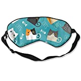 HSHISKH Men And Women Cute Cats Vector Image Mask For Sleeping 3d, Hot Ice Cover Sleep Blackout Breathable Sleeping Goggles